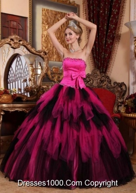 Wonderful Princess Strapless Pink and Black Quinceanera Dress with Beading