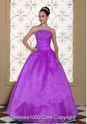2014 Lovely Strapless Quinceanera Dress With Beaded Decorate Bust