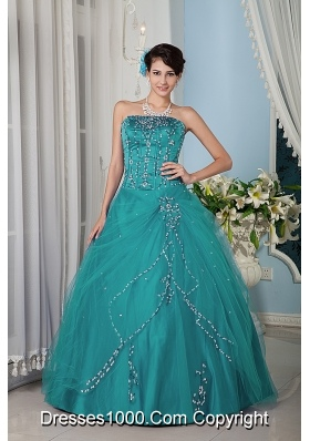Turquoise A-line / Princess Strapsless Floor-length Tulle Quinceanera Dress