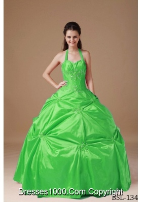 2014 Elegant Ball Gown Halter Taffeta Quinceanera Dresses with Beading