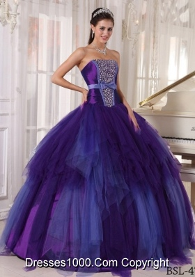 Ball Gown Strapless Tulle Purple Quinceneara Dresses with Beading