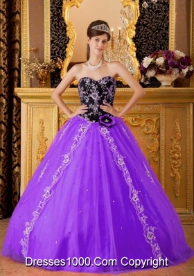db5c6e25ca8 Purple and Black Princess Sweetheart Quinceanera Gowns with Appliques