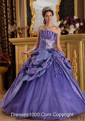 Purple Princess Strapless Quinceneara Dresses with Appliques and Flowers