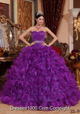Purple Sweetheart Organza Quinceanera Gowns with Beading and Ruffles