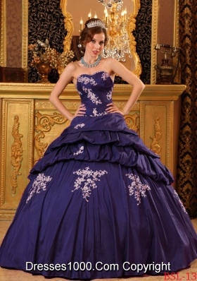Purple Sweetheart Taffeta Beading and Appliques Quinceanera Dress with Pick-ups