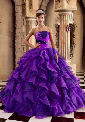 Ball Gown Strapless Ruffles and Appliques Quinceanera Gowns Dresses