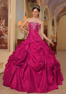Coral Red Ball Gown Strapless Quinceanera Dress with  Taffeta  Beading Embroidery