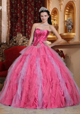 Coral Red Ball Gown Sweetheart Quinceanera Dress with Tulle Beading
