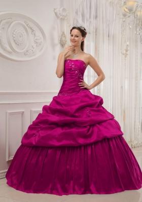 Fuchsia Ball Gown Strapless Quinceanera Dress with Taffeta Ruffles