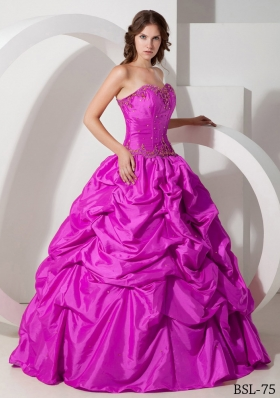 Hot Pink Ball Gown Strapless Quinceanera Dress with Taffeta Pick-ups