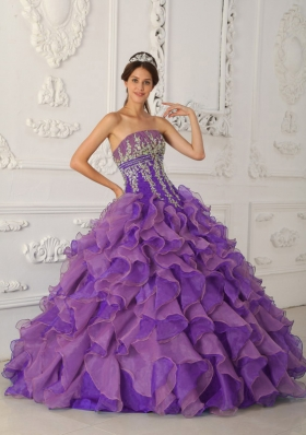 Purple Ball Gown Strapless Ruffles and Appliques Quinceanera Dress