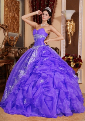 Purple Ball Gown Sweetheart Beading Ruffles  Dresses For a Quinceanera