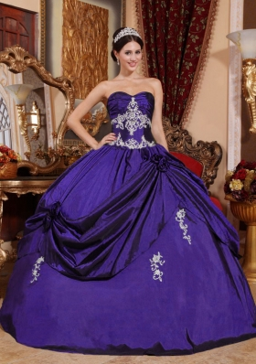 Affordable Purple Ball Gown Sweetheart Appliques Quinceneara Dresses