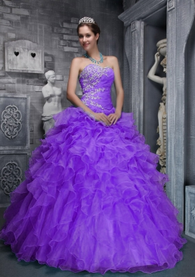 Beautiful Sweetheart Ruffles and Appliques Purple Quinceanera Dress