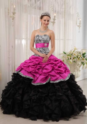 Brand New Hot Pink and Black Ball Gown Sweetheart Quinceanera Dress