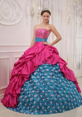 Elegant 2014 Puffy Strapless Quinceanera Dress with  Taffeta Beading