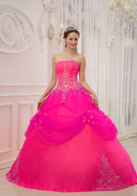Hot Pink Ball Gown Strapless Quinceanera Dress with Taffeta Tulle Appliques