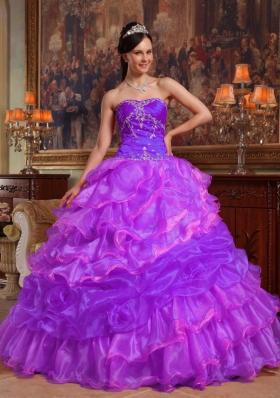 Purple Sweetheart Beading Custom Made Quinceanera Dress with Pick-ups
