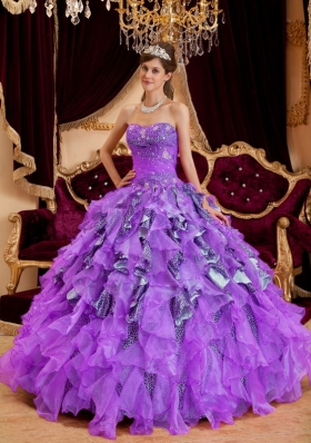 Purple Sweetheart Beading Leopard Organza Quinceanera Gown Dresses with Ruffles