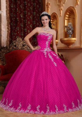 2014 Coral Red Ball Gown Strapless Quinceanera Dress with Tulle Lace Appliques