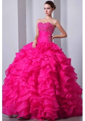 Coral Red Princess Sweetheart Quinceanea Dress with  Organza Beading and Ruffles