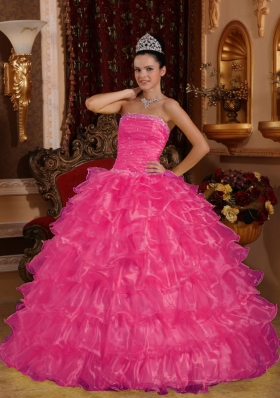 Hot Pink Ball Gown Strapless Quinceanera Dresses with Organza Beading