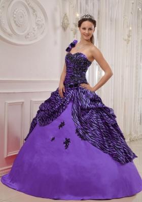 Purple One Shoulder Zebra Appliques and Pick-ups Sweet 16 Dresses