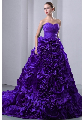 Purple Princess Sweetheart Ruching and Hand Made Flowers Quinceanea Dress