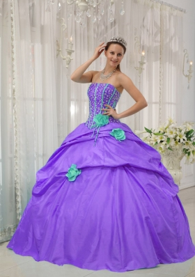Purple Strapless Beading and Hand Made Flowers Modest Quinceanera Dress