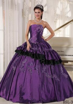 Purple Strapless Taffeta Sweet Sixteen Dresses with Beading