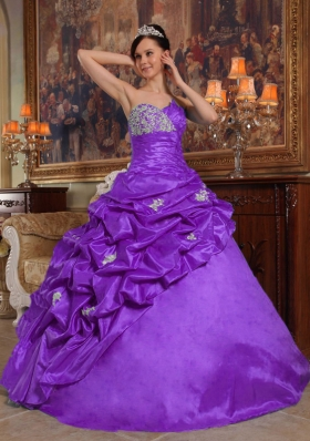 Purple Sweetheart Beading Taffeta Quinceanera Dress with Pick-ups