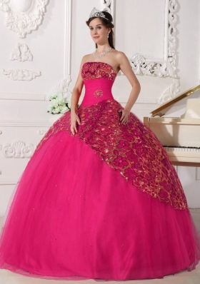 Red Ball Gown Strapless Quinceanera Dress with Tulle Beading Ruching
