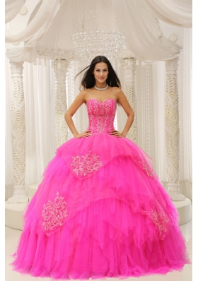 2014 New Style Hot Pink Sweetheart Embroidery Quinceanera Dresses