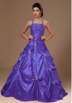 A-line Purple Halter Top Quinceanera Dress with Pick-ups and Beading