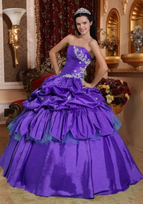 Affordable Purple Strapless Appliques Quinceanera Dress with Pick-ups