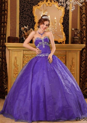 Ball Gown Sweetheart  Organza Purple Quinceaneras Dress with Appliques