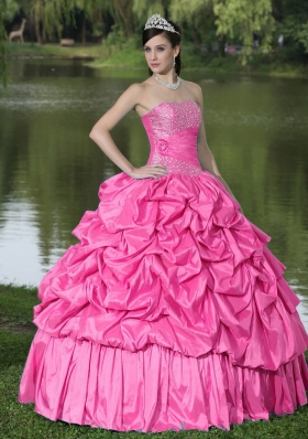 Clearance Hot Pink Sweet 16 Dresses With Strapless Beaded Decorate