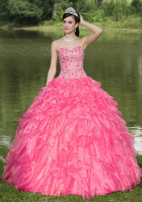 Hot Pink Sweetheart 2014 Quinceanera Gowns With  Beaded Ruffles Layered