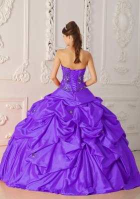 862ef6479fd Pretty Purple Ball Gown Pick-ups Quinceanera Dress with Strapless Appliques