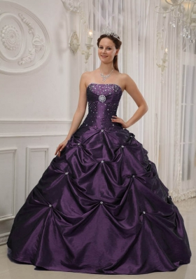 Purple Ball Gown Strapless Beading Dresses For a Quince with Pick-ups