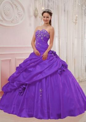 Purple Ball Gown Sweetheart Appliques Pick-ups Sweet Sixteen Dresses