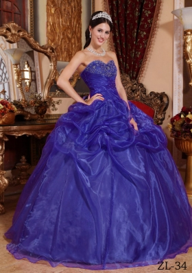 Purple Ball Gown Sweetheart Beading Quinceanera Dress with Pick-ups