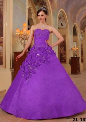 Purple Ball Gown Sweetheart Hand Made Flowers Dresses For Quinceaneras