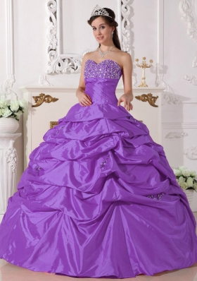 Purple Ball Gown Sweetheart Quinceanera Dress with Beading and Pick-ups