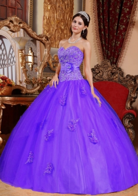 Purple Ball Gown Sweetheart Quinceanera Gowns Dresses with Appliques