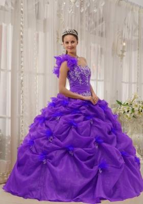 Purple One-shoulder Appliques Quinceanera Dress with Pick-ups