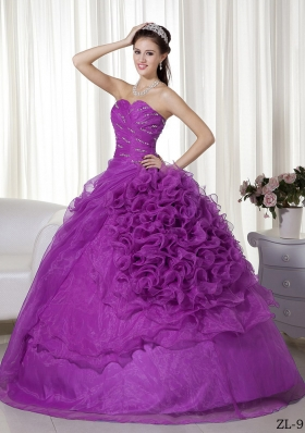 Purple Sweetheart Beading and Ruffles Quinceanera Gowns with Ruching