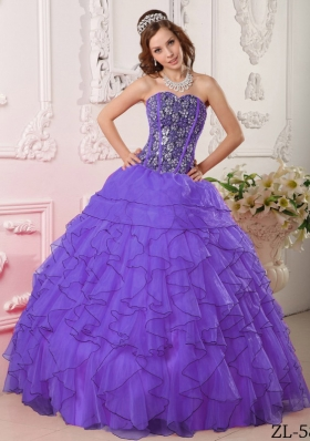 Purple Sweetheart Organza Sweet 15 Dresses with Beading and Ruffles