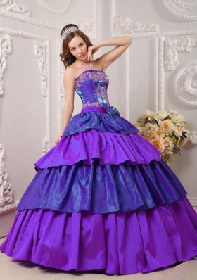 Strapless Taffeta Appliques for Purple Quinceneara Dresses with Layers