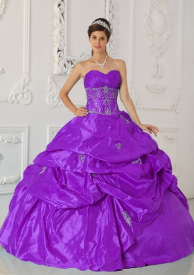 Sweetheart Taffeta Appliques and Pick-ups for Purple Quinceanera Gowns